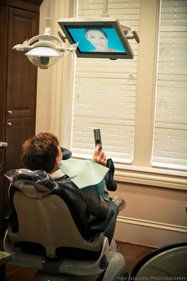 Patient watching operatory TV at Reich Dental Center